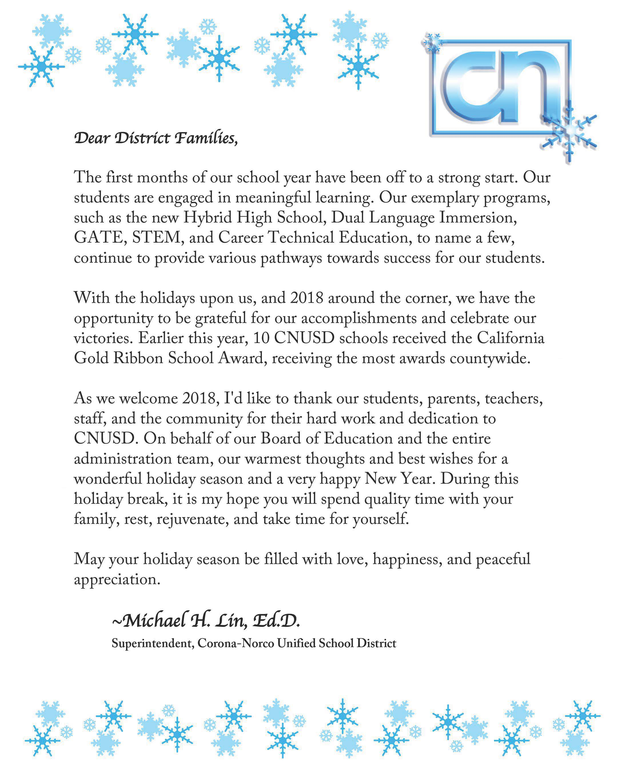 2017 Holiday Message from the Superintendent – The CNUSD